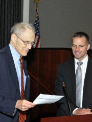 Newest Council Member Dr. Steven Croley (right) being sworn in by Judge Stephen F. Williams (left) of the U.S. Court of Appeals for the District of Columbia Circuit